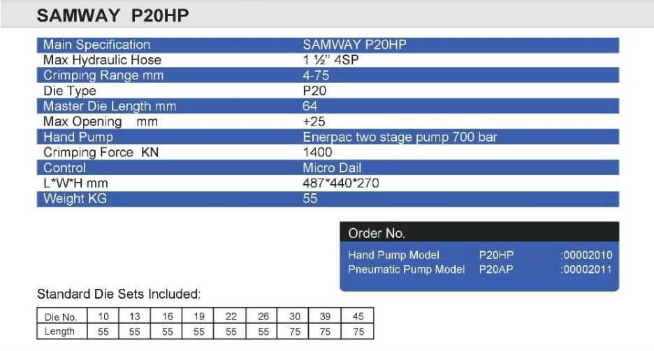 Ручной станок для обжима РВД SAMWAY P20HP (108-136) - 3