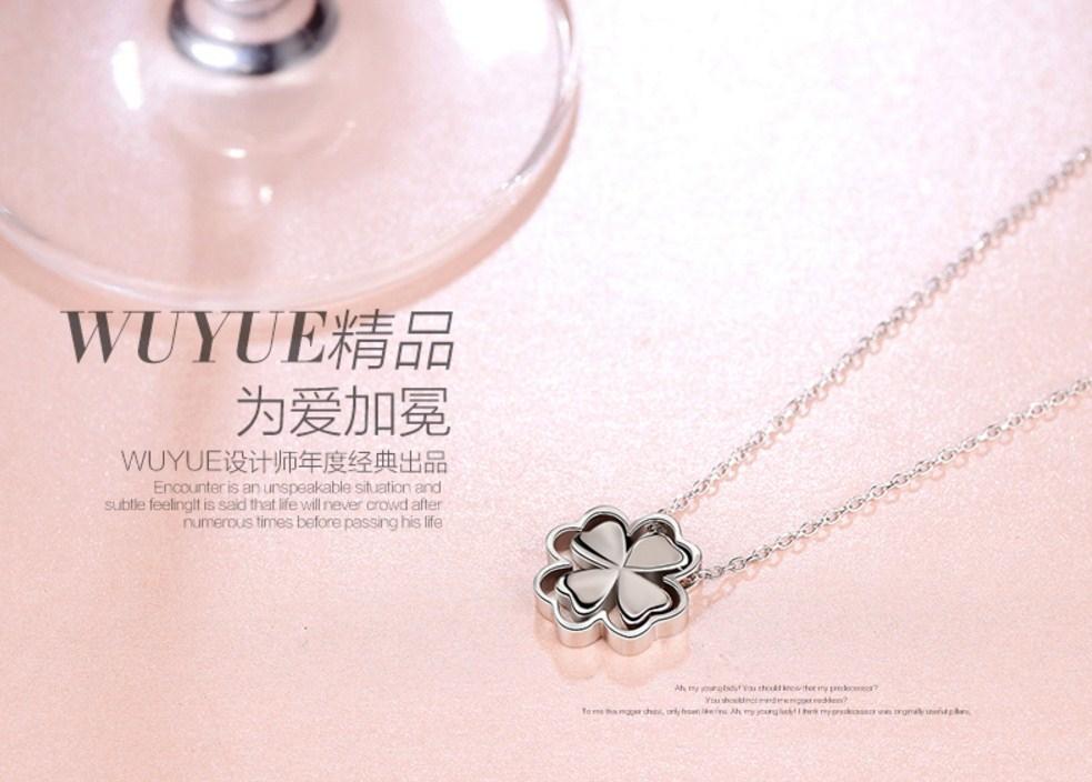 """Серебряная цепочка с кулоном """"Клевер"""" Wu Yue Clover (124-105) - 4"""
