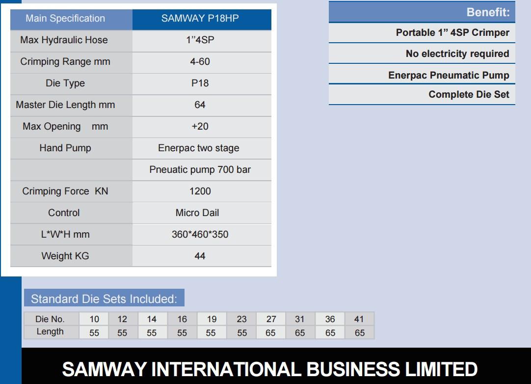 Портативный обжимной станок РВД - SAMWAY P18HP (108-160) - 3