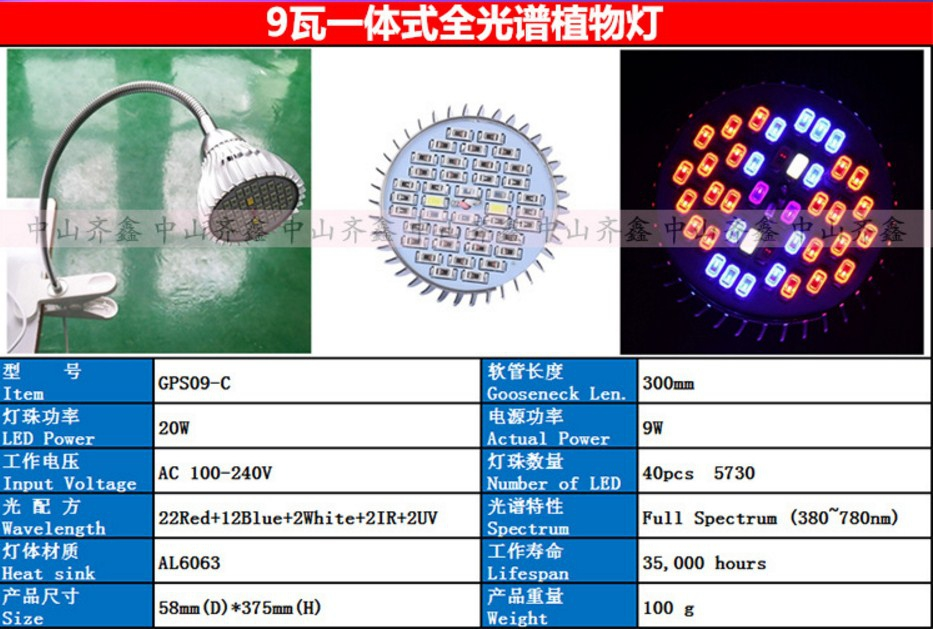 Светодиодная лампа для роста растений с зажимом Xin Qi GSR05-5W-15W (112-120) - 10