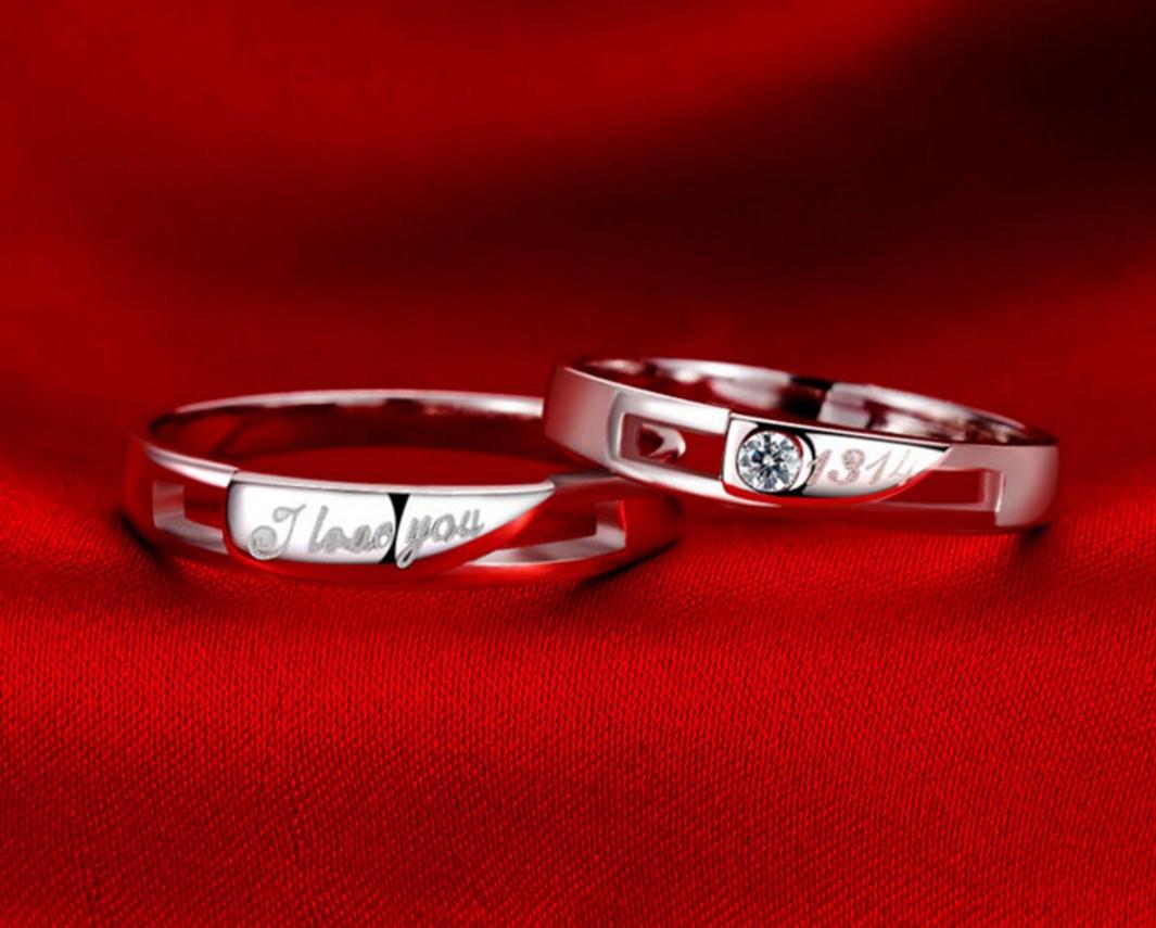 Серебряные S925 парные кольца для мужчины и женщины (124-110) - 2