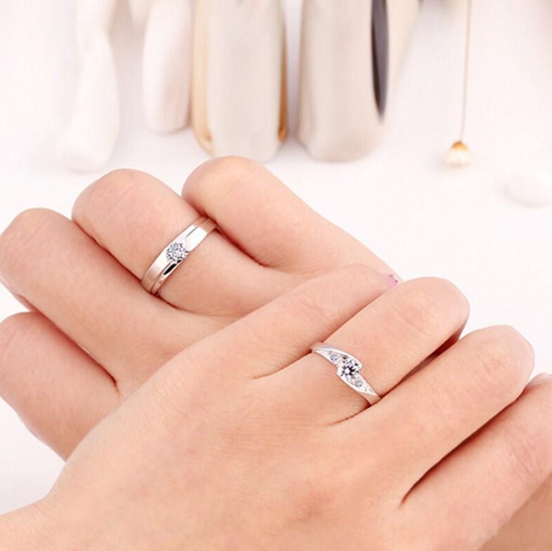 Серебряные S925 парные кольца для мужчины и женщины (124-110) - 13
