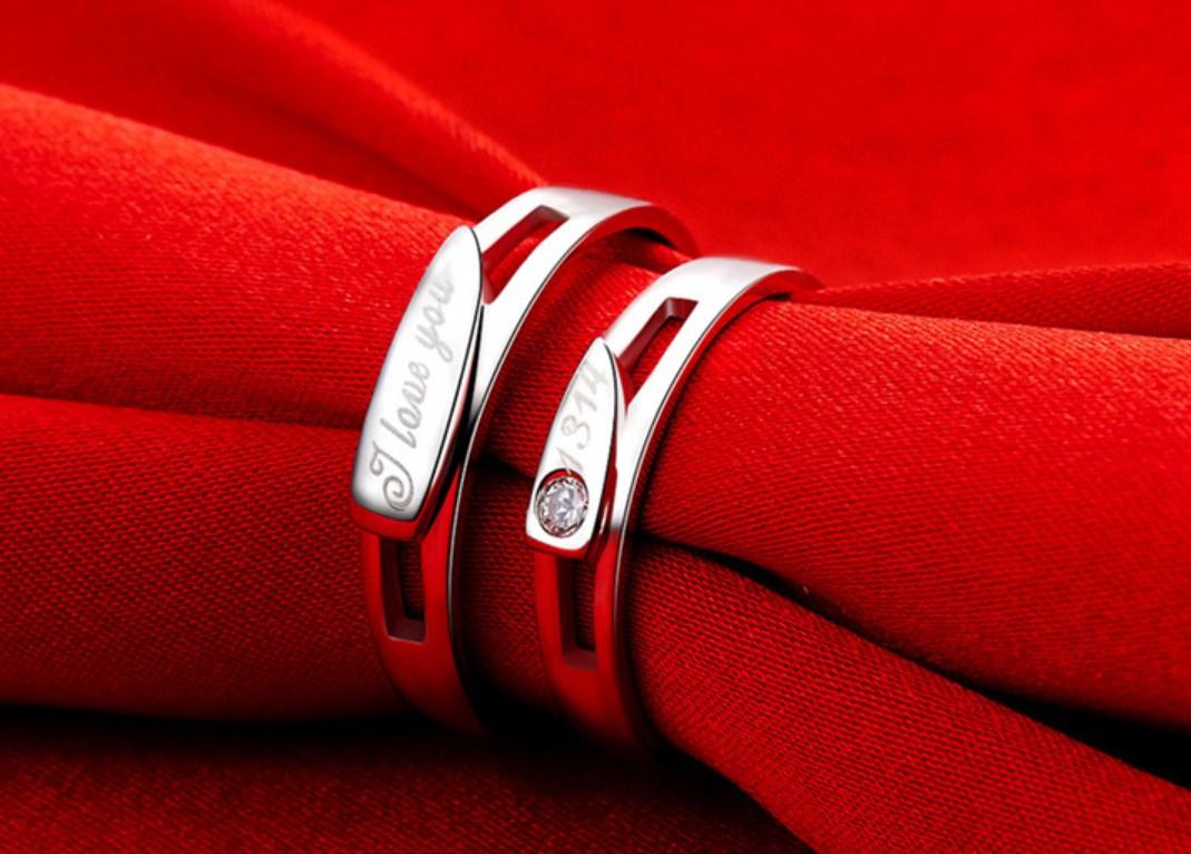 Серебряные S925 парные кольца для мужчины и женщины (124-110) - 3