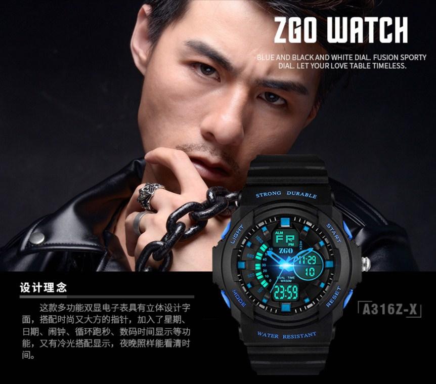 Водонепроницаемые электронные спортивные часы ZGO WATCH A316Z-X (123-108) - 7