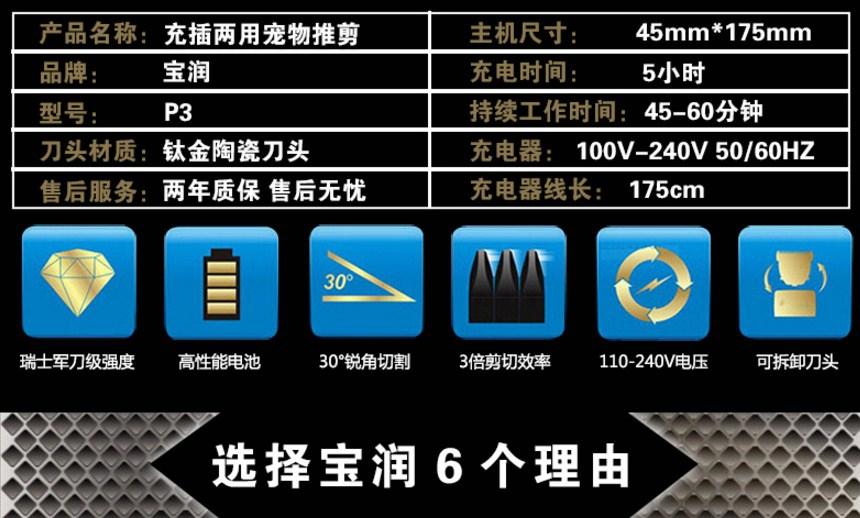 Профессиональная электрическая машинка для стрижки домашних животных BaoRun (128-106) - 7