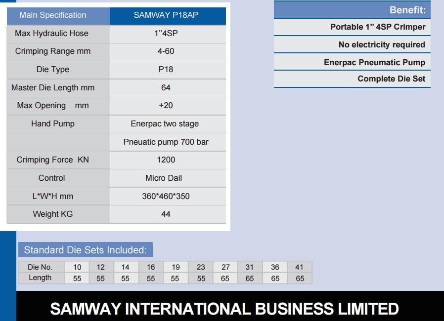 Портативный обжимной станок РВД - SAMWAY P18AP (108-159) - 3