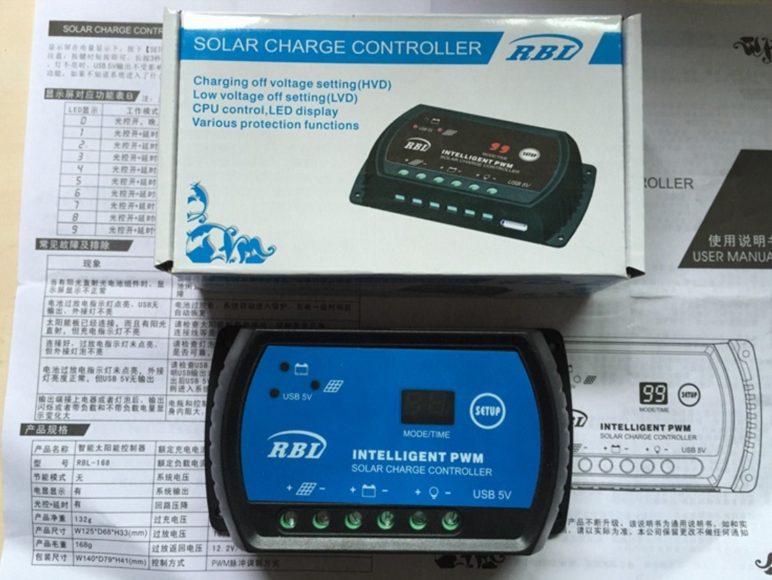 Контроллер для солнечных батарей 20A-12V-24V (120-109) - 6