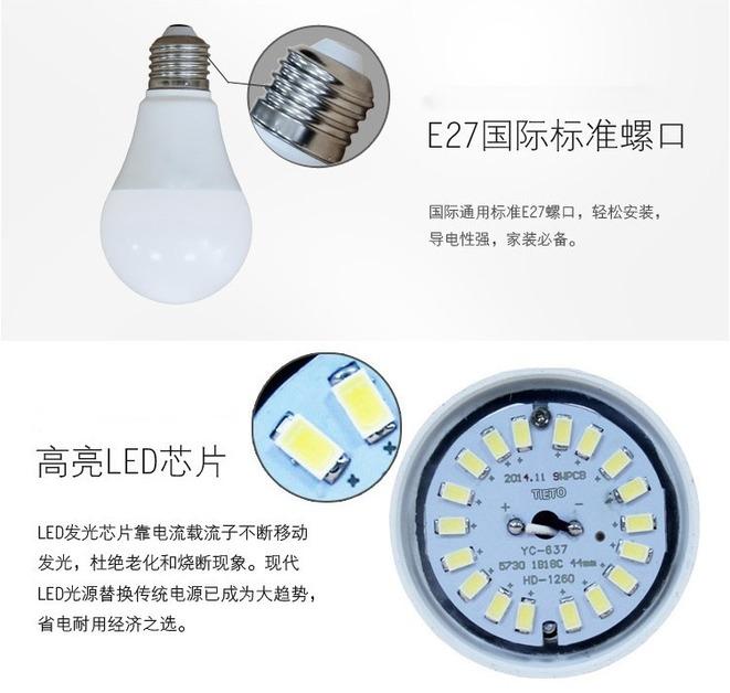 Лампа светодиодная шар LED-E27-5730 (101-214) - 2
