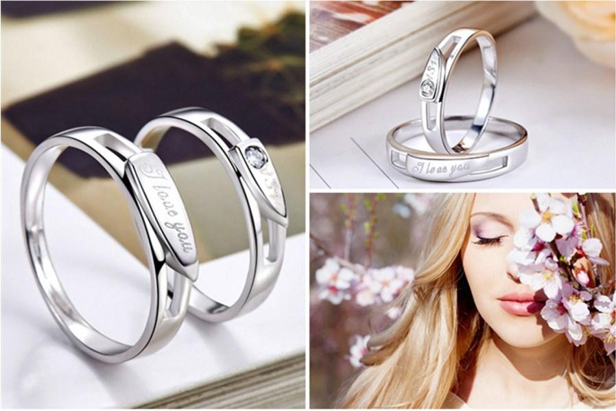 Серебряные S925 парные кольца для мужчины и женщины (124-110) - 4